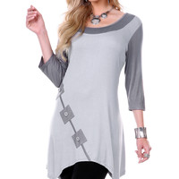 Gray Square Button-Accent Sidetail Tunic | zulily
