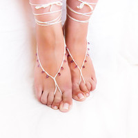 Wedding barefoot sandals White purple drop beads