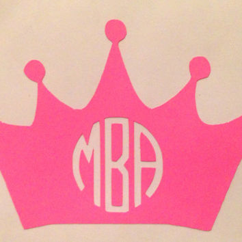 Monogrammed Crown Vinyl Decal For Cars and Laptops