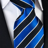 Royal Blue & Black Charcoal Striped Necktie
