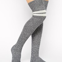 ASOS Over The Knee Mix Knit 2 Stripe Socks