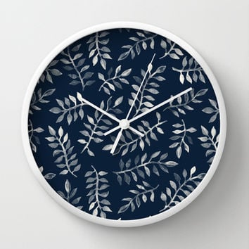 White Leaves on Navy - a hand painted pattern Wall Clock by micklyn | Society6
