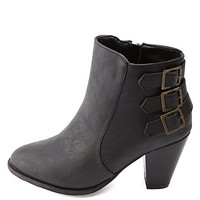Bamboo Triple-Belted Chunky Heel Booties by Charlotte Russe - Black