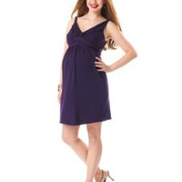 Motherhood Maternity: Sleeveless Twist Neck Detail Maternity Dress