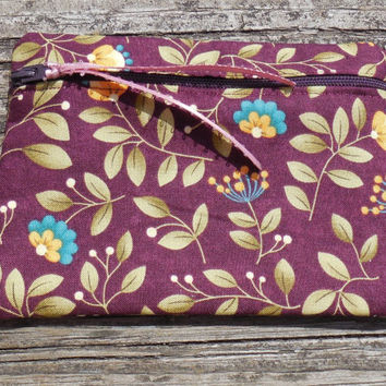 Privacy Pouch, Purse Organizer, Cosmetic Makeup Bag, Change Purse, Coin Pouch, Floral