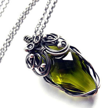 Olive silver necklace green Swarovski crystal by NurrgulaJewellery