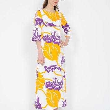 FLASH SALE . 40% OFF . Vintage Shaheen Dress . 1960s Hawaiian Maxi . 60 Kimono Dress