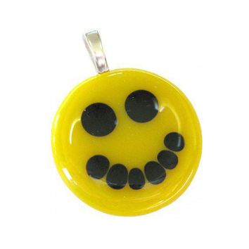 Yellow Smiley Face Glass Pendant Round Yellow by mysassyglass