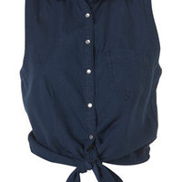 Denim Tie Front Shirt - Sale  - Sale &amp; Offers  - Topshop USA
