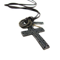 soft leather necklace crossing pendant men leather by braceletcool