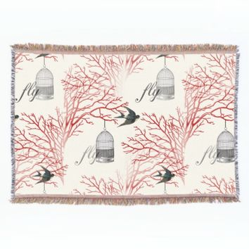 "Vintage Birdcage Red Branches ""fly"" Throw Blanket"
