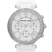 Michael KORS Parker MK5654 White Ceramic Chronograph Crystal Bezel Womens Watch