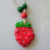 Red ornamental recycled PENDANT STRAWBERRY B O G by RecycoolArt