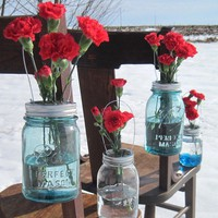 Mason Jar Hanging 10 DIY Lids Flower Frog Vase by treasureagain