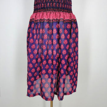 Sari Skirt / Hand Made / Vintage Indian Chiffon Sari / Purple Red Leaf Print / Limited Edition / Size Large to Extra Large L XL