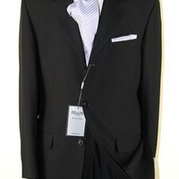 Signature Collection Mens Suit 3 Button Single Breasted Business Fit Jet Black