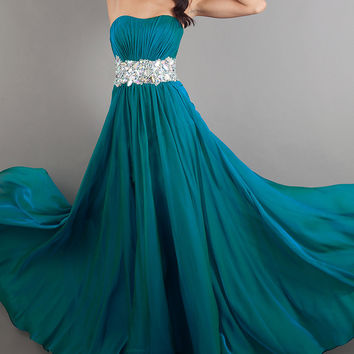 Long Strapless Gown with Open Back by La Femme