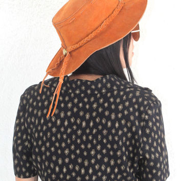 Vintage Southwestern // Suede Rusty Brown Outback Hat // Made in Mexico // Wide Brim // Floppy Hat // Small Medium Large / One Size