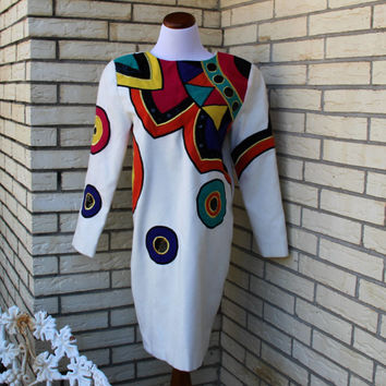 Vintage 1980's IBE Dress Geometric Pattern Medium