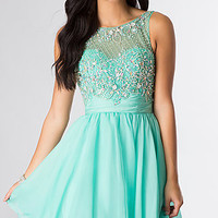 Short Sleeveless Rhinestone Embellished Dress