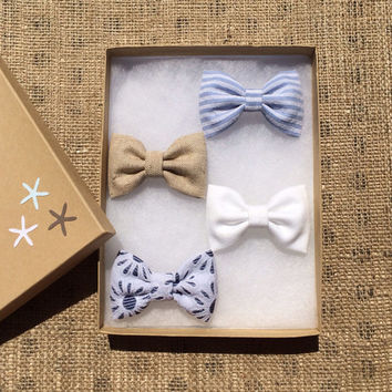 Beautiful hair bow lot from Seaside Sparrow.  Includes our new blue and white eyelet. Beautiful.