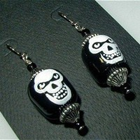 CREEPY SKULLS Goth Punk Horror Unique Handmade, Hand Painted, Earrings | whiteowldesigns - Jewelry on ArtFire