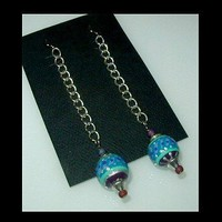 SILVER BLUE Long Chain Unique Handmade, Hand Painted, Dangle Earrings | whiteowldesigns - Jewelry on ArtFire