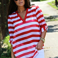 Nautical Striped V-Neck Blouse