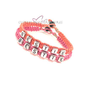 Bestie Bracelets, Friendship Bracelets, Best Friend Bracelet, Coral & Pink Hemp Bracelets, Best Friend Gift, Personalized GIft, Gift Ideas