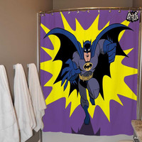 Batman Old Retro Comic Shower Curtain