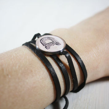 Leather Wrap Bracelet- Monogram