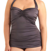 Esther Williams Bathing Beauty One Piece in Pewter - Plus-Size | Mod Retro Vintage Bathing Suits | ModCloth.com