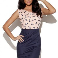 Multi Party Dress - Pink Bird Print Top with | UsTrendy