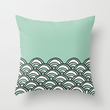 Waves Mint Throw Pillow by Project M