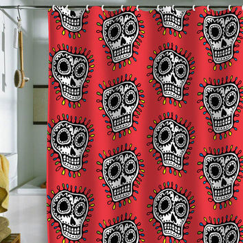 DENY Designs Home Accessories | Andi Bird Sugar Skull Fun Red Shower Curtain