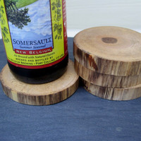 Natural Wood  Rustic Maple Wooden Coasters by TimberWoodsWares