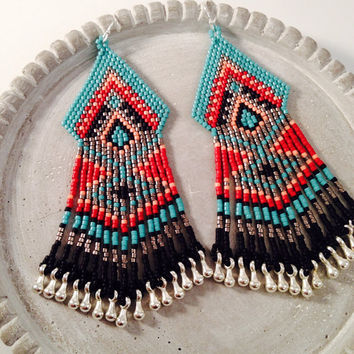 Tribal Seed Beaded Fringe Earrings