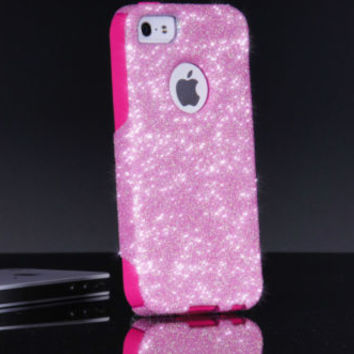 Custom Otterbox Commuter Glitter iPhone 5/5S Light Pink Glitter/Pink Silicone