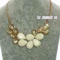 white Leaf Bib Bubble Statement Necklace,Transparent gem Neckace,Bib Statement Necklace, Wedding  Personalized Bridesmaids Jewelries, SN1084
