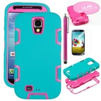 Pandamimi ULAK(TM) 3in1 Rubber Combo Hybrid Impact Silicone Armor Hard Case for Samsung Galaxy S4 IV i9500 with Screen Protector and Stylus (Hot Pink+Aquamarine Blue)