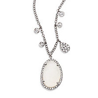 Meira T - Druzy, Diamond & 14K White Gold Pendant Necklace - Saks Fifth Avenue Mobile