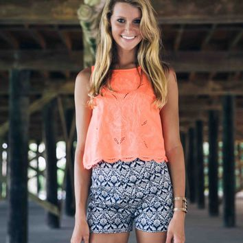 Polished in Neon Orange Scallop Top - Lotus Boutique