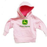 John Deere Little Girls Hooded Sweatshirt Pink