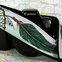Dream Catcher Camera Strap, Hand Painted, Real Beads, Green, Teal, Dreamcatcher, Tribal, Feathers, One of a Kind, dSLR or SLR, 14-3 a