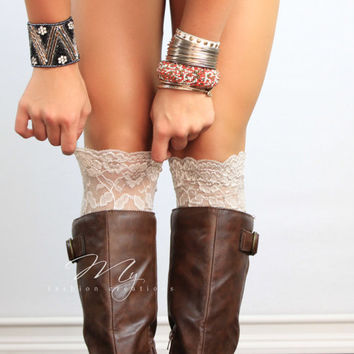 Beige Lace Boot Cuff Stretchy Boot floral lace leg warmers Wedding lace Cuffs Lace Boot Toppers for women