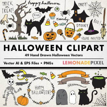 Halloween Clipart - hand drawn clip art, halloween party, halloween decorations, printable halloween, black cat art, happy halloween
