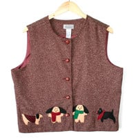 Felt Puppies Dog Lover's Fabric Ugly Vest