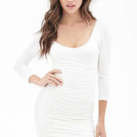 FOREVER 21 Ruched Bodycon Dress Cream