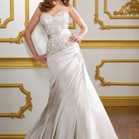 Mermaid Sweetheart Embroidery Taffeta Sweep Train Bridal Gown at Dresseshop