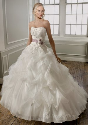 A-line Strapless Hand Made Flower Tulle Sweep Train Bridal Gown at Dresseshop